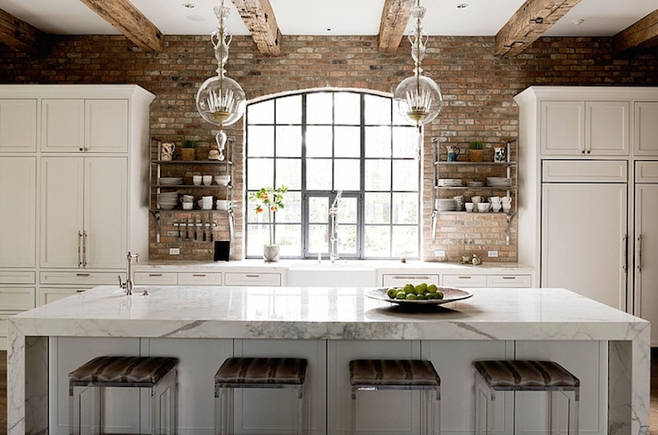 Exposed brick walls transitional kitchen thompson for Exposed brick kitchen ideas