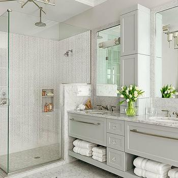 Light Grey Bathroom & Grey Double Vanity - Contemporary - bathroom - Fiorella Design azcodes.com