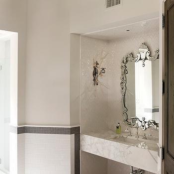 Marble Floating Sink, Transitional, bathroom, Thompson Custom Homes