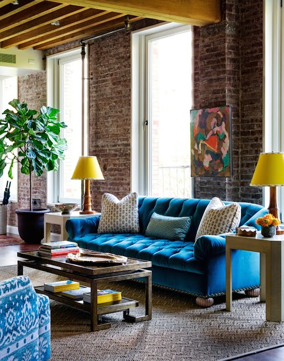 Turquoise Tufted Sofa Eclectic Living Room Tilton