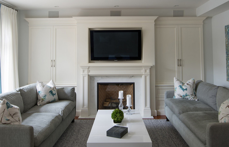 fireplace cabinets transitional living room steffanie gareau. Black Bedroom Furniture Sets. Home Design Ideas
