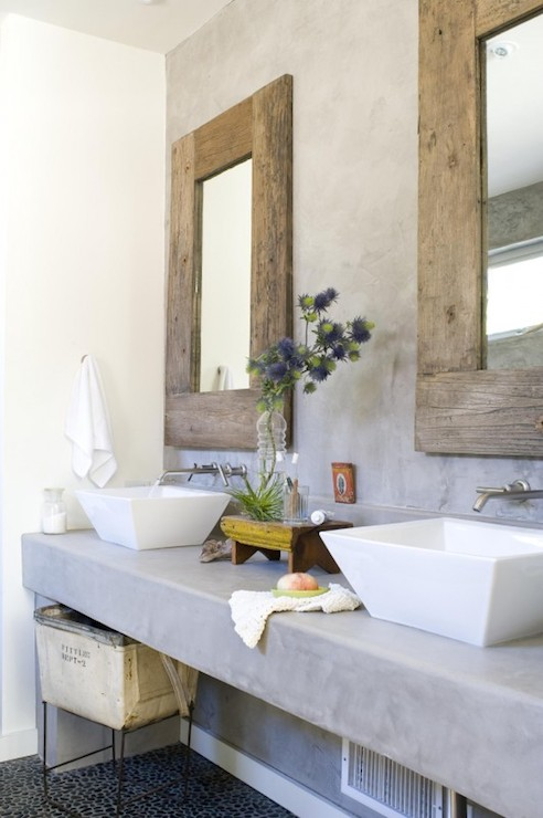 Zen Bathroom With Floating Concrete Vanity Topped His And Her Vessel Sinks Paired Wall Mounted Faucets Reclaimed Wood Mirrors As Well