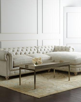 Warner Linen Ivory Sectional Sofa
