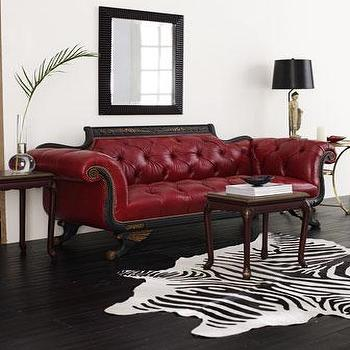 Old Hickory Tannery Red Tufted-Leather Sofa & Loveseat I Horchow