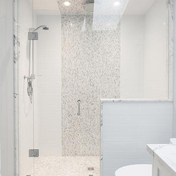 Gray and white bathroom with seamless glass shower partition framing a - Hakatai Mosaic Tile In Stripe Pattern Design Decor
