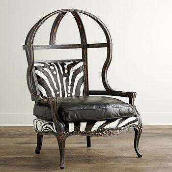 Old Hickory Tannery Zebra Balloon Chair I Horchow