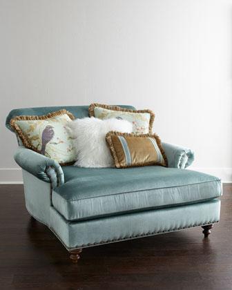 Massoud Stella Oversized Blue Chair