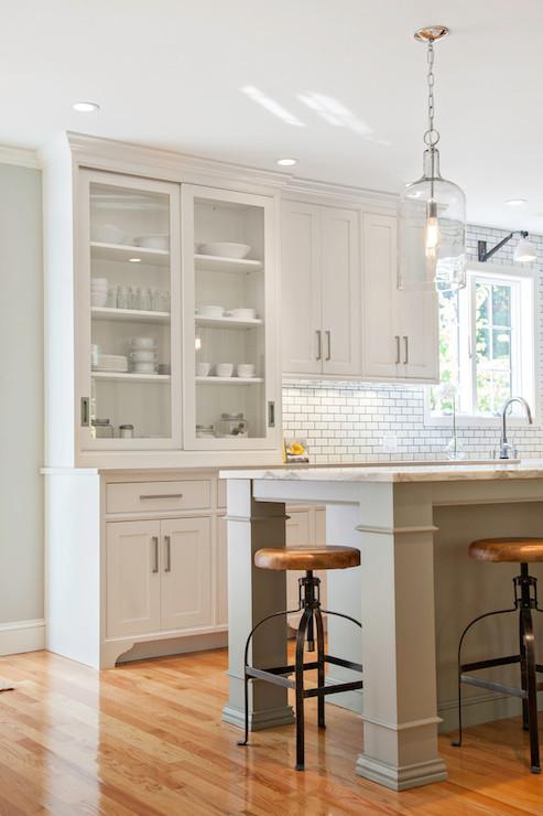 Sliding Door Hutch Transitional Kitchen Pennville Custom Cabinetry