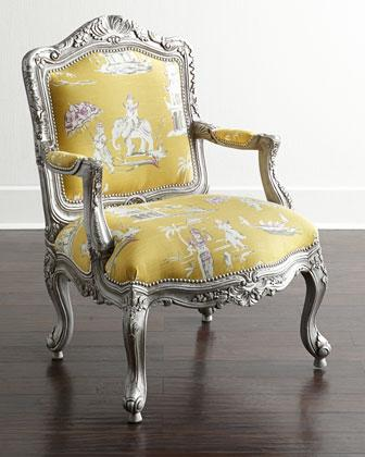 Yellow Floral Tufted Yellow And Gray Lydia Dining Chair