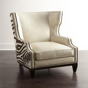 Massoud Chocolate Zebra Brown Wing Chair