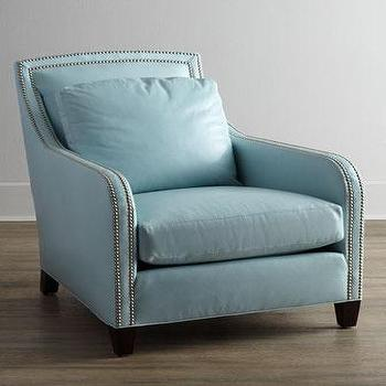 Delicieux Lee Industries Federico Blue Leather Chair