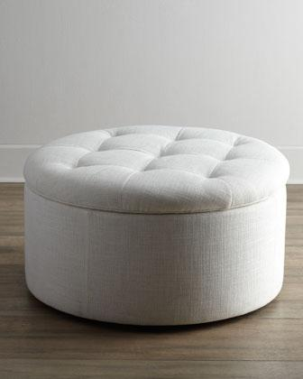 & Massoud White Shoe Storage Ottoman