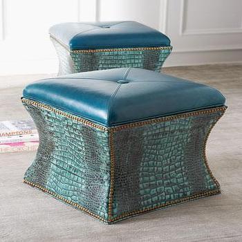 Massoud Lagoon Turquoise Storage Cube & Navasota Blue Storage Ottoman islam-shia.org