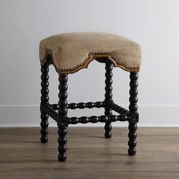 Ridged Black And Beige Leg Nailhead Trim Counter Stool