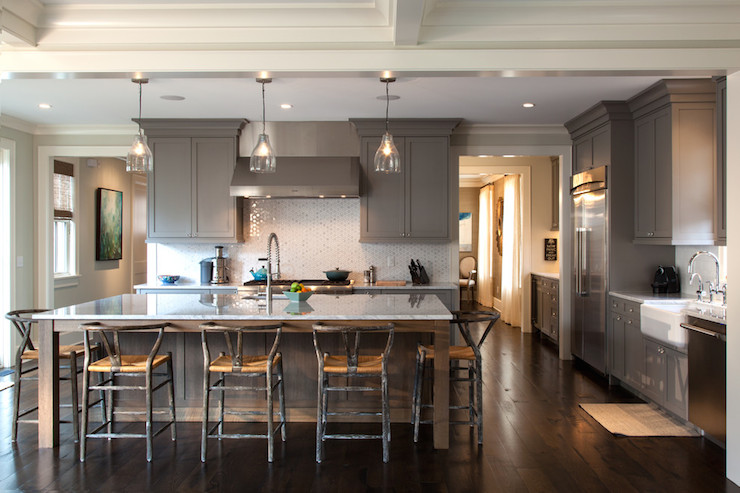 Gray Shaker Kitchen Cabinets  Contemporary  kitchen  Lonny Magazine