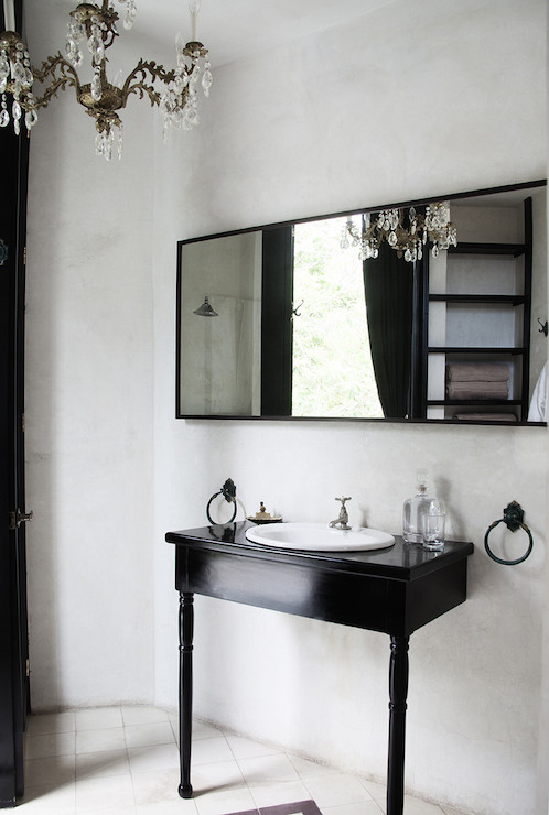 Black Repurposed Bathroom Vanity Design Ideas