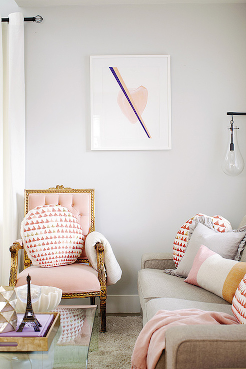 Pink Tufted Chair Contemporary Living Room Sherwin Williams Passive Jillian Harris