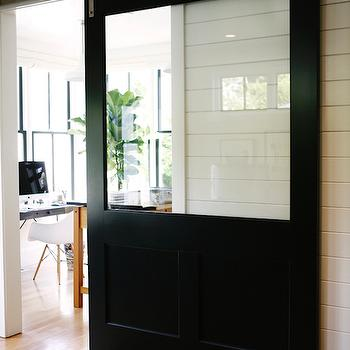 Glass Barn Door, Cottage, den/library/office, H2 Design and Build