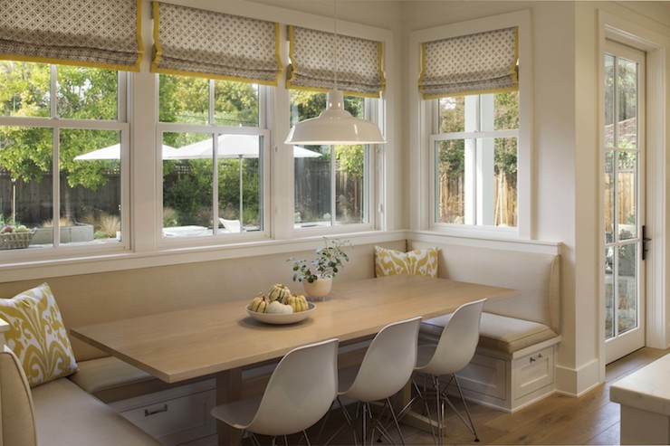 Built in dining banquette transitional dining room modern organic interiors - Built in banquette dining sets ...