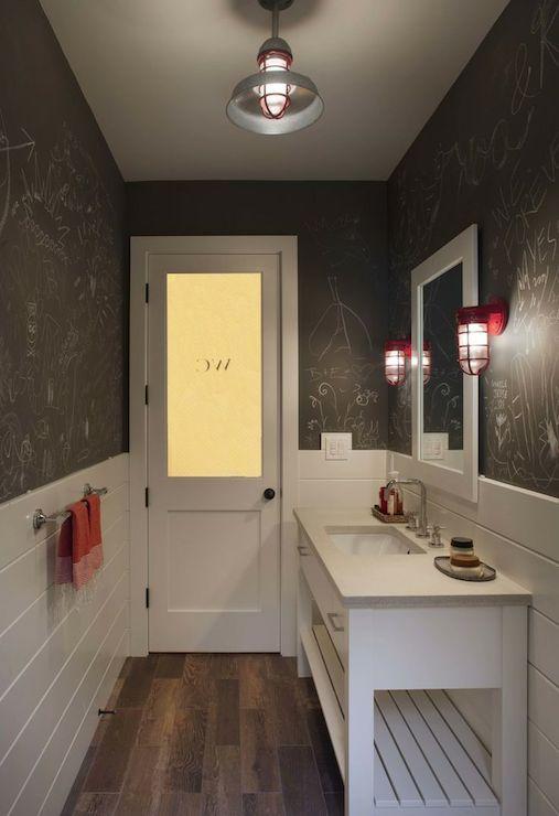 Wood Paneled Room Design: Chalkboard Paint Bathroom