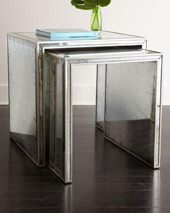 John Richard Collection Eglomise Silver Nesting Side Tables