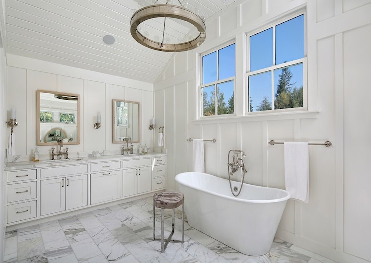 Elegant Bathroom Features Paneled Vaulted Ceiling Over Full Wall Board And  Batten Framing His And Her Mirrors Over Double Washstand Topped With  Calcutta Ora ...