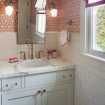 Wallpaper for Bathrooms, Transitional, bathroom, Modern Organic Interiors