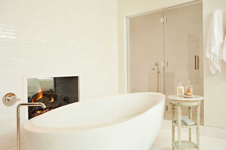 See Through Fireplace Contemporary Bathroom Chris Barrett Design
