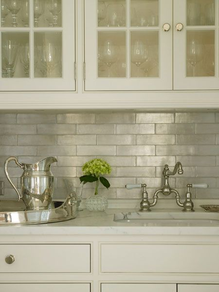Iridescent Tile Backsplash Transitional Kitchen Brooks amp Falotico
