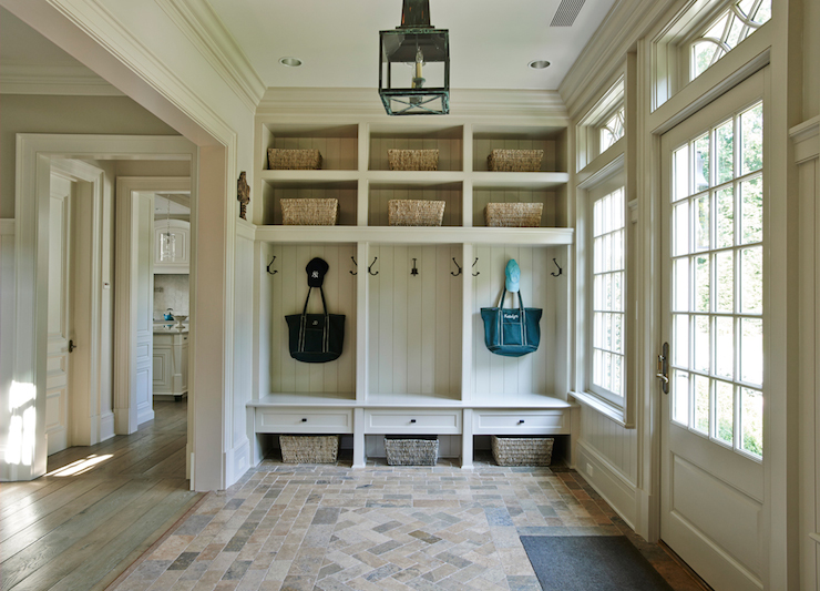 Blue Mudroom Locker Cabinets With Red Brick Herringbone