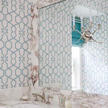 Turquoise Trellis Wallpaper, Transitional, bathroom, Atlanta Homes & Lifestyles