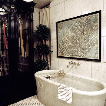 Marble Freestanding Bathtub, Eclectic, bathroom, Lonny Magazine