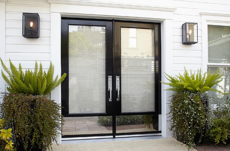 Glass front doors traditional entrance foyer for Full view exterior door