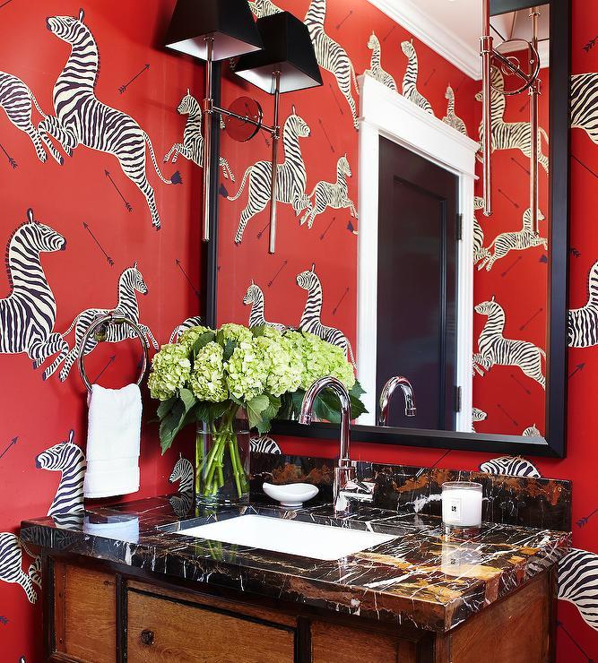 Scalamandre Wallpaper Eclectic Bathroom Urrutia Design