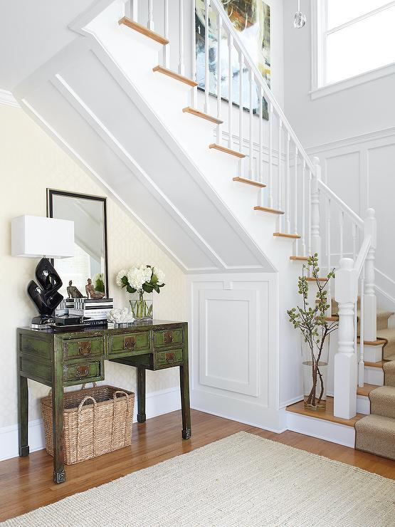 Under The Stairs Table Traditional Entrance Foyer