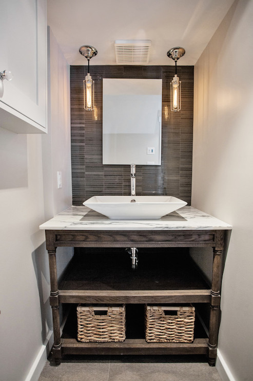 Weathered Oak Single Washstand Contemporary Bathroom