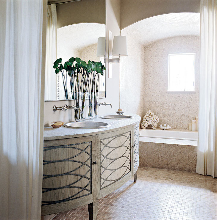 Stunning Bathroom Featuring A Contemporary Demilune Sink Vanity With  Geometric Cabinet Doors Finished With A Stone Counter Which Frames His And  Her Bowl ...