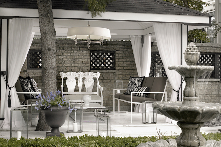 Pergola Curtains - Contemporary - deck/patio - Lukas ... on Black And White Patio Ideas id=77824