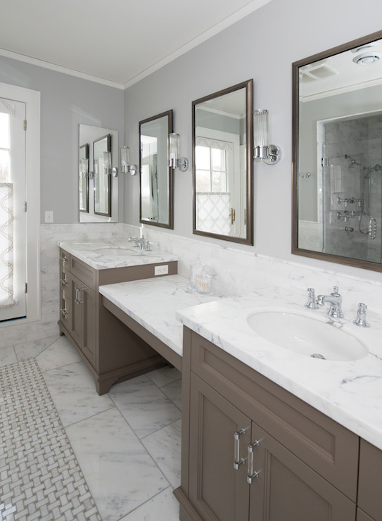Gray Wash Bath Vanity Cabinets with Gray Marble Diamond ...