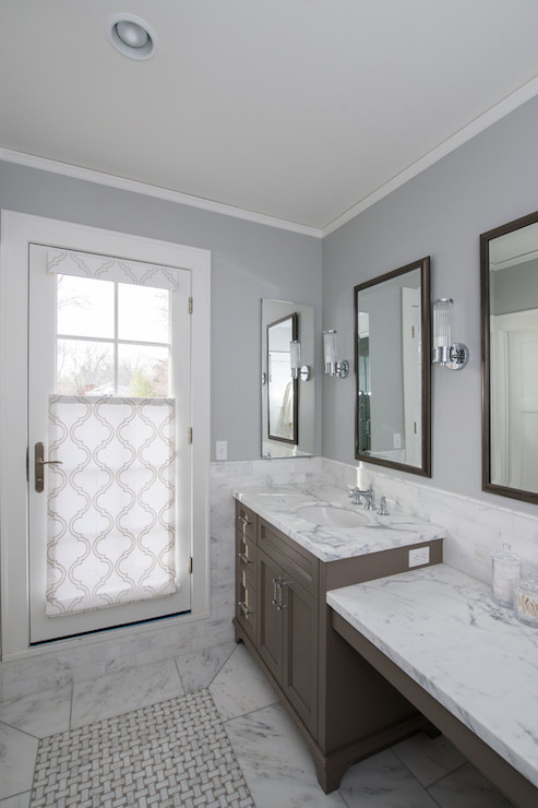 Gray Tiled Walls Contemporary Bathroom Toronto