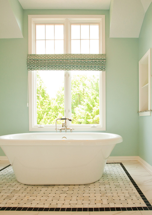 Blue green wall paint transitional bathroom sherwin Green wall color