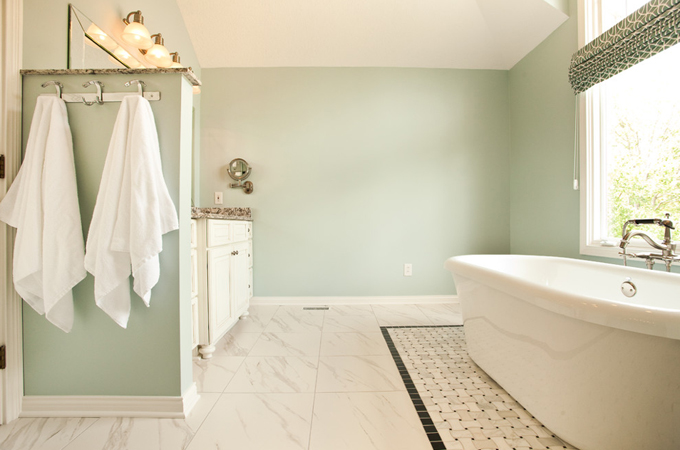 Blue Green Paint Colors Transitional Bathroom