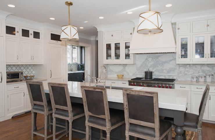 Gray Leather Barstools - Transitional - kitchen - KItchen Lab
