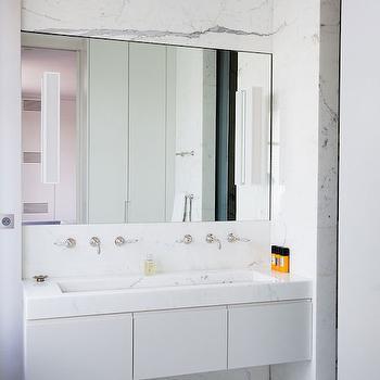 Marble Trough Sink, Modern, bathroom