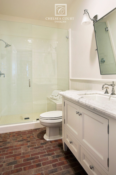 Brick Floor Transitional Bathroom Chelsea Court Designs