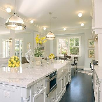Island Microwave view full size. Beautiful kitchen features Restoration  Hardware Classic Clemson Pendants ...