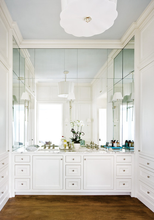 View Full Size Elegant Bathroom With Ceiling Height Vanity Mirror