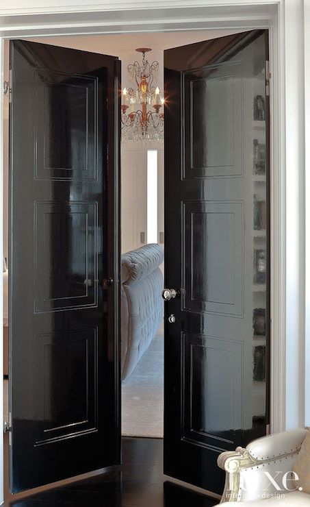 Gray Double Bedroom Doors with Paneling - Transitional - Bedroom