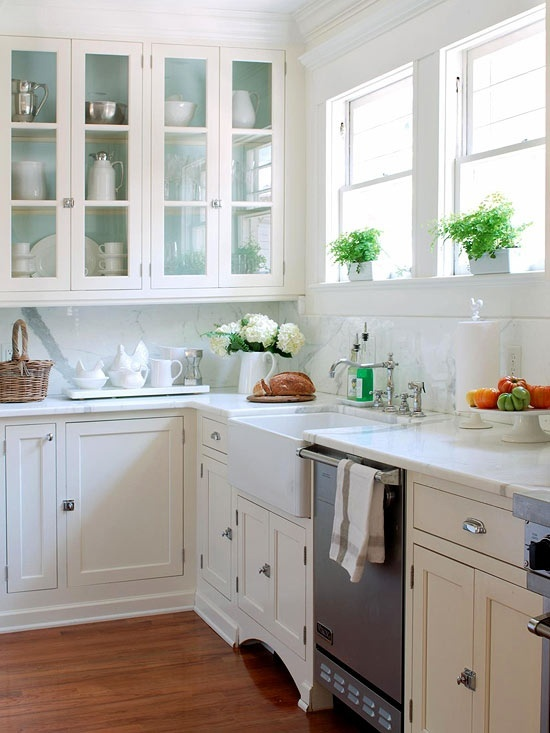Paint inside cabinets country kitchen bhg for Farm style kitchen handles