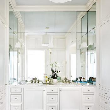 Mirrored Backsplash, Transitional, bathroom, Atlanta Homes & Lifestyles